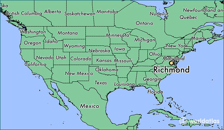 Where Is Richmond Va Richmond Virginia Map Worldatlascom