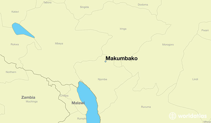 map showing the location of Makumbako