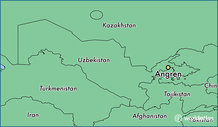 map showing the location of Angren