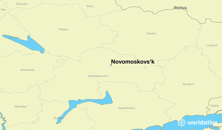 map showing the location of Novomoskovs'k