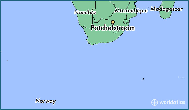 map showing the location of Potchefstroom