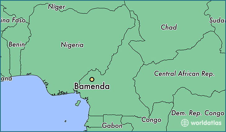 map showing the location of Bamenda