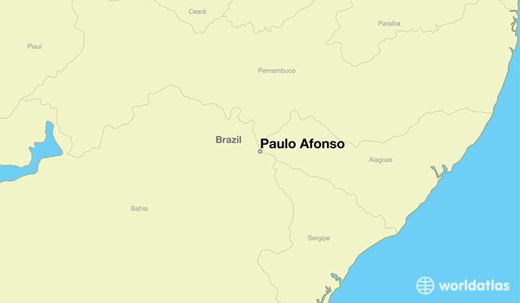 map showing the location of Paulo Afonso