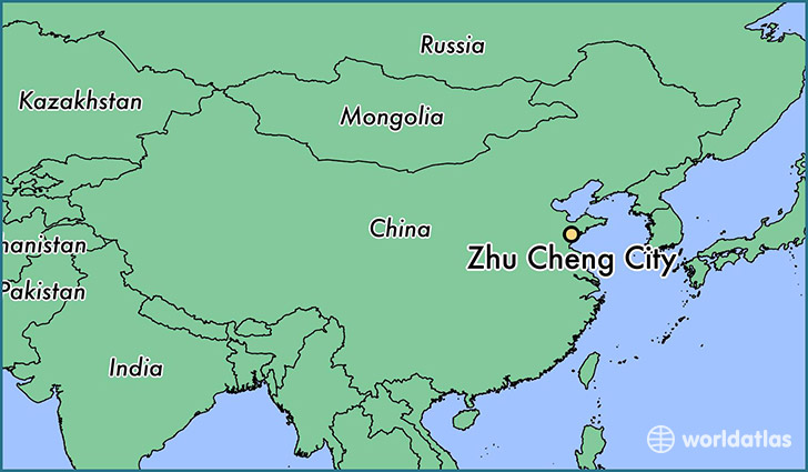 map showing the location of Zhu Cheng City