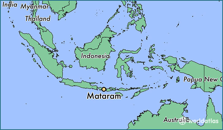 map showing the location of Mataram