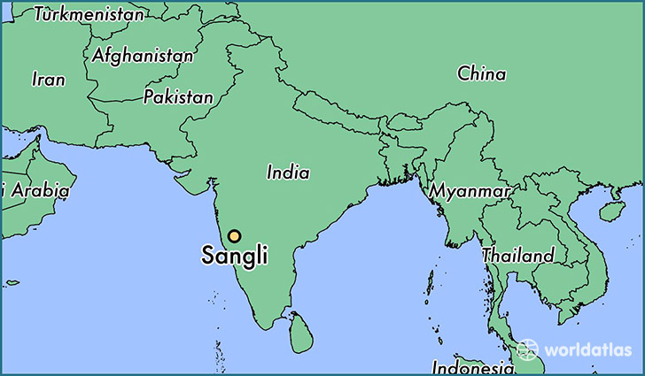 map showing the location of Sangli