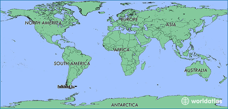 map showing the location of The Falkland Islands [Malvinas]