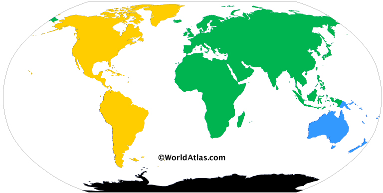 Colored map of the world with the four continents model. Each color represents a continent: Green for Afro-Eurasia, Yellow for America, Blue for Australia / Oceania, and Black for Antarctica.