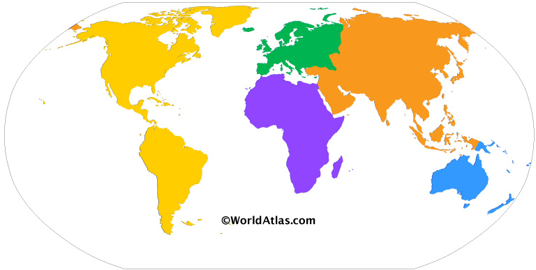 Colored map of the world with the five continents model. Each color represents a continent: Purple for Africa, Green for Europe, Orange of Asia, Yellow for America, Blue for Australia / Oceania.
