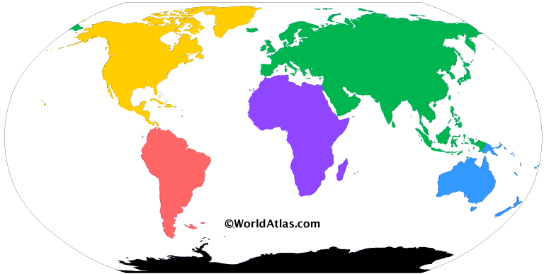 Colored map of the world with a version of the six continents model. Each color represents a continent: Purple for Africa, Green for Eurasia, Yellow for North America, Red for South America, Blue for Australia / Oceania, and Black for Antarctica.