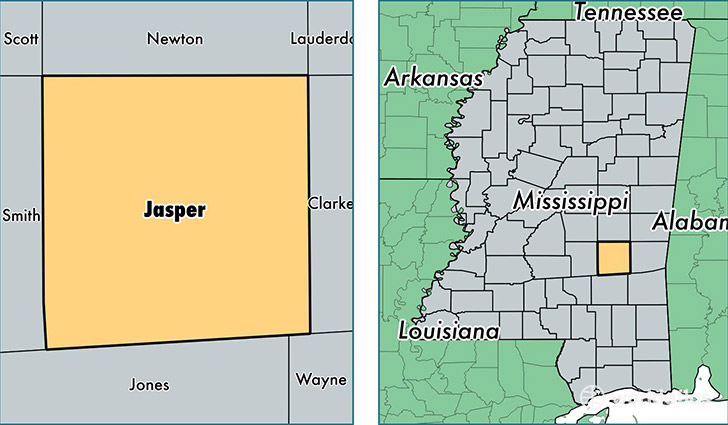 location of Jasper county on a map