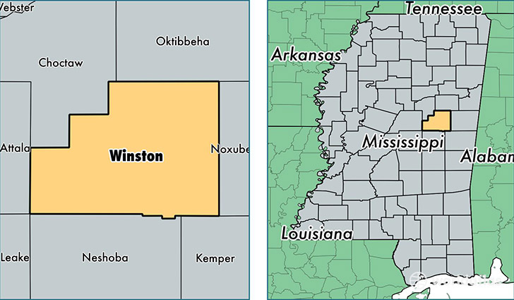 location of Winston county on a map