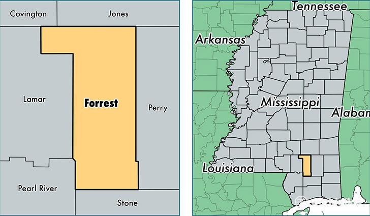 location of Forrest county on a map