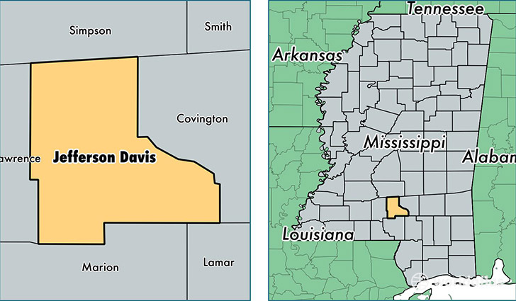 location of Jefferson Davis county on a map