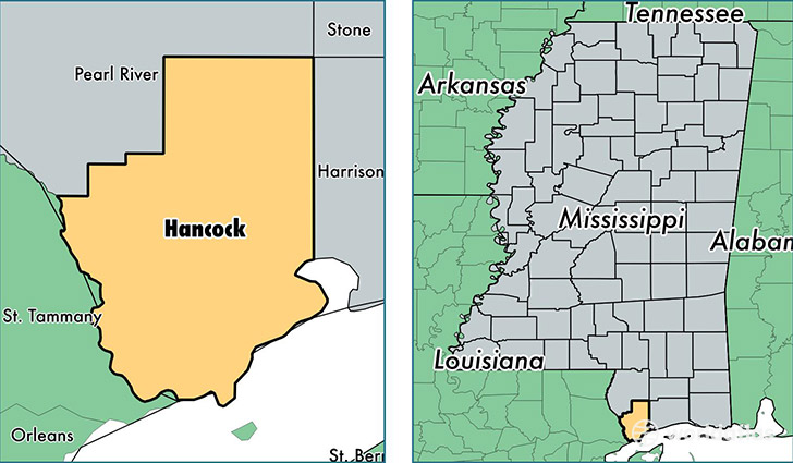 location of Hancock county on a map