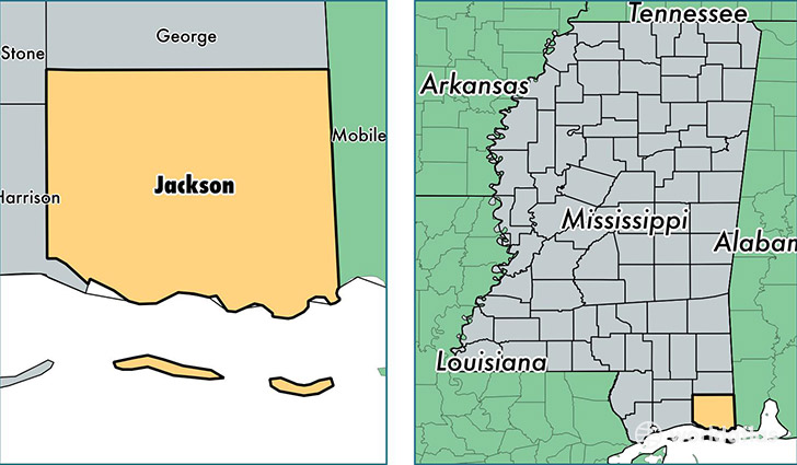 Jackson County Mississippi Map of Jackson County MS Where is