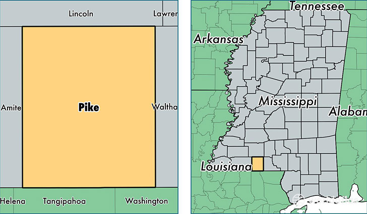 location of Pike county on a map