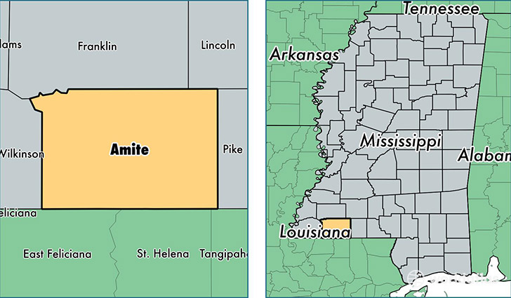 location of Amite county on a map