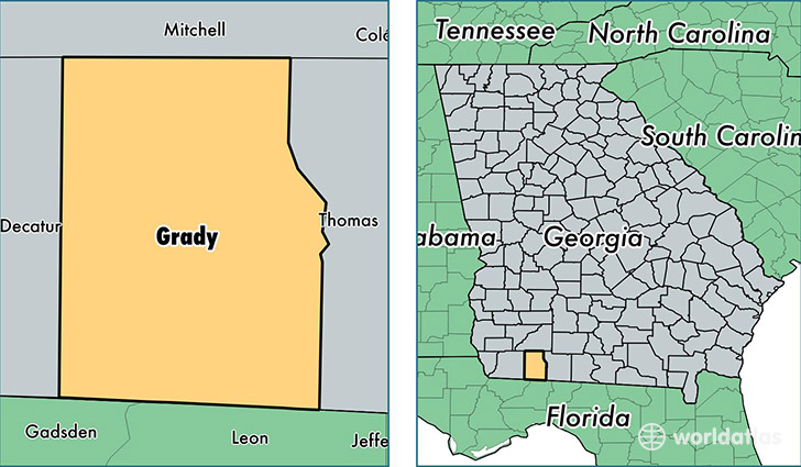location of Grady county on a map