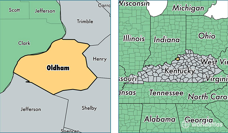 location of Oldham county on a map