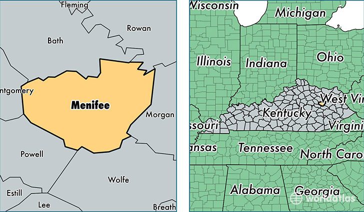 location of Menifee county on a map