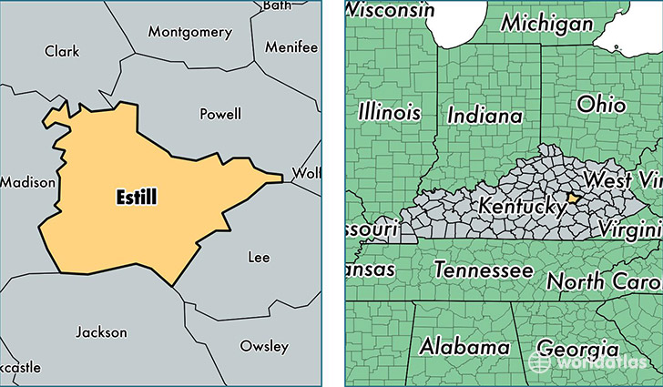 location of Estill county on a map