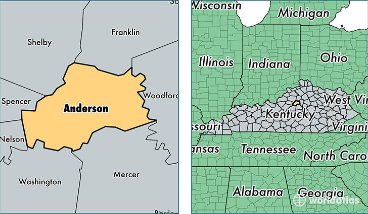 location of Anderson county on a map