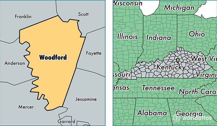 location of Woodford county on a map