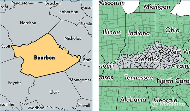 location of Bourbon county on a map