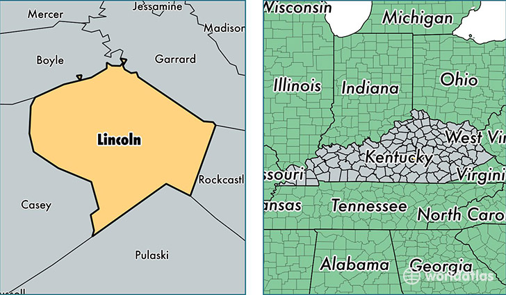 location of Lincoln county on a map