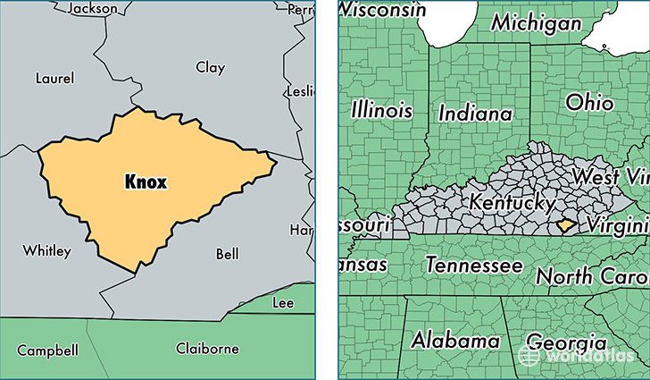location of Knox county on a map