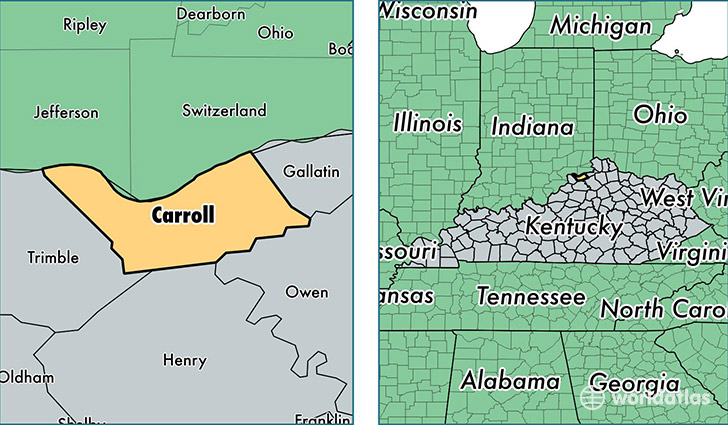 location of Carroll county on a map