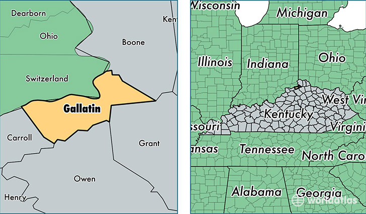 Gallatin County Kentucky Map of Gallatin County KY Where is
