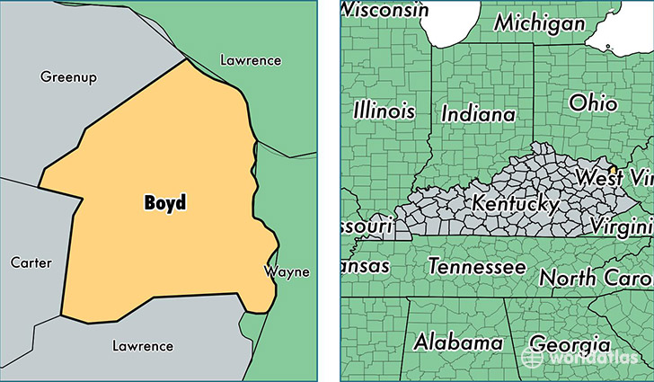 location of Boyd county on a map