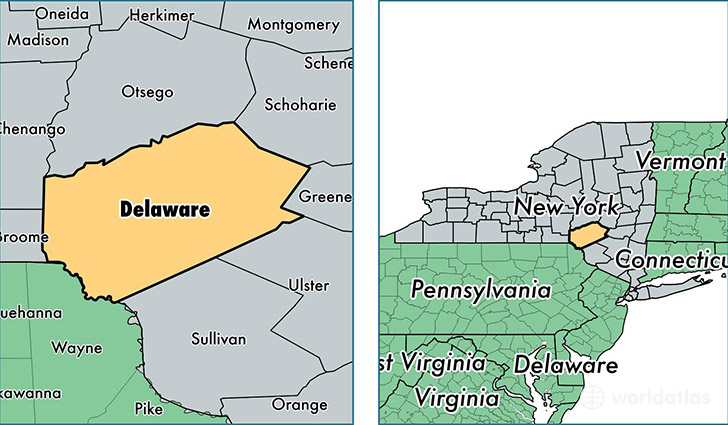 Delaware County New York Map Of Delaware County Ny Where Is - Delaware-on-a-us-map