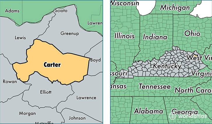 Carter County Kentucky Map Of Carter County KY Where Is - Ky map