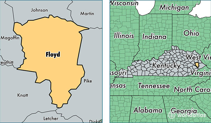 location of Floyd county on a map