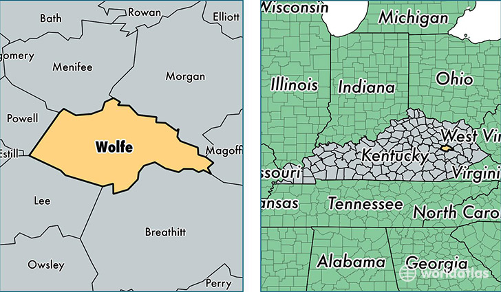 location of Wolfe county on a map