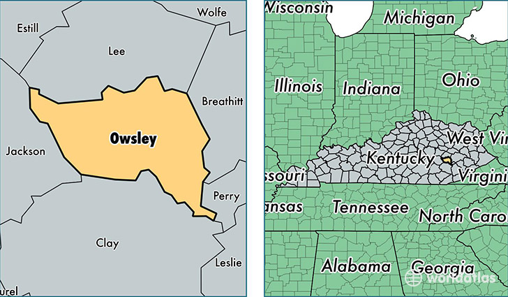 location of Owsley county on a map
