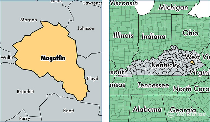 location of Magoffin county on a map