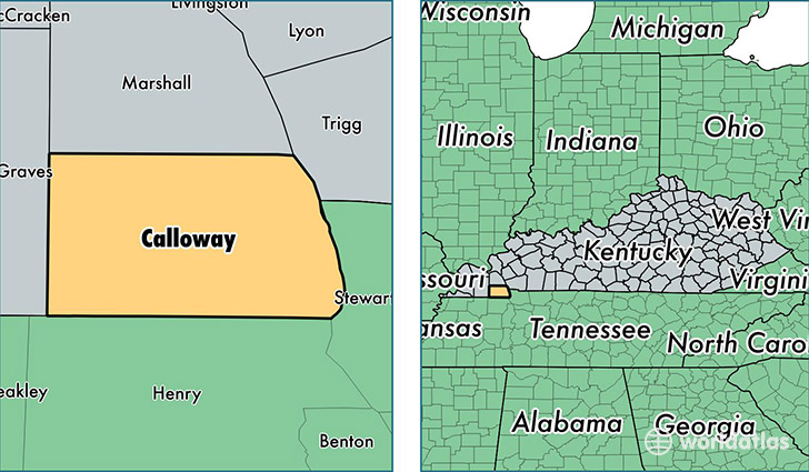 location of Calloway county on a map
