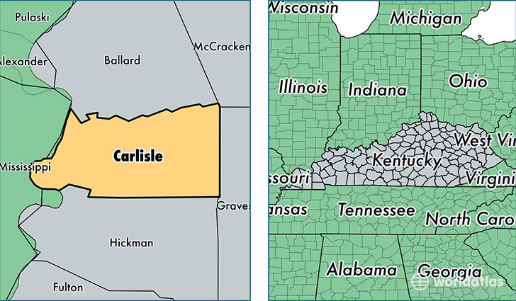 location of Carlisle county on a map