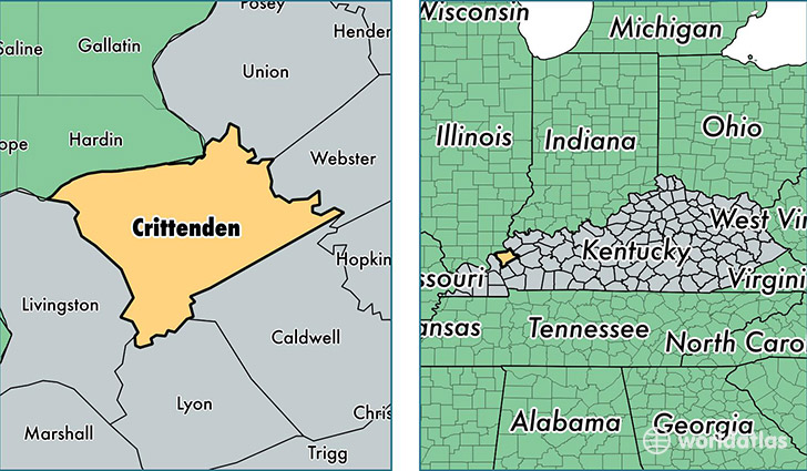 location of Crittenden county on a map