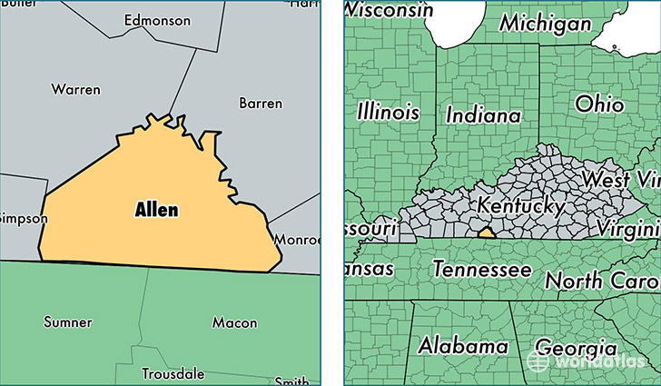 location of Allen county on a map