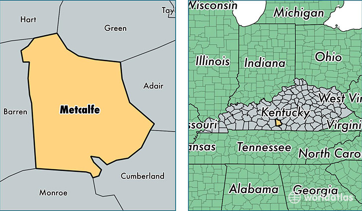 location of Metcalfe county on a map