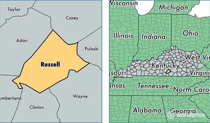 location of Russell county on a map