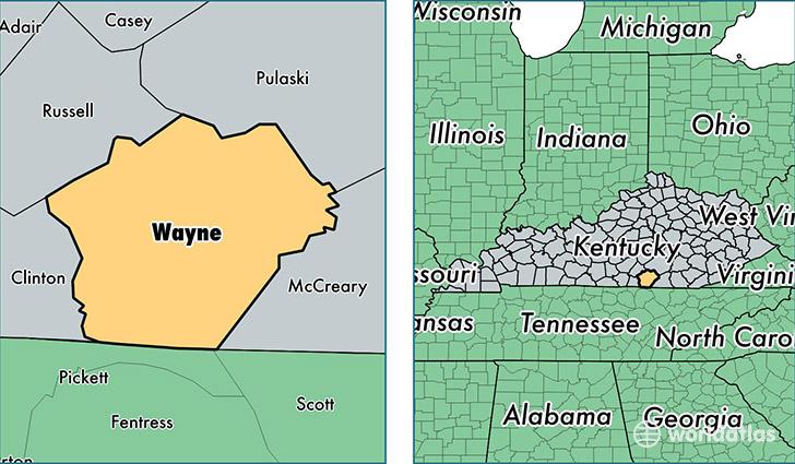 Wayne County Kentucky Map of Wayne County KY Where is Wayne