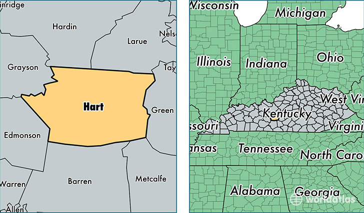 location of Hart county on a map