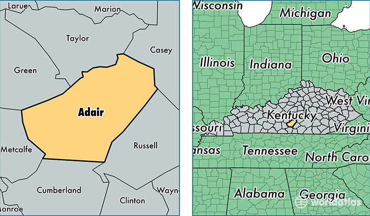 location of Adair county on a map