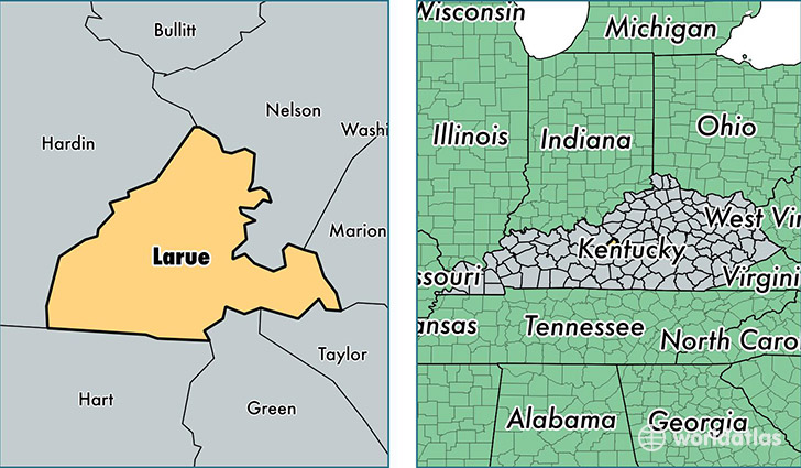location of Larue county on a map